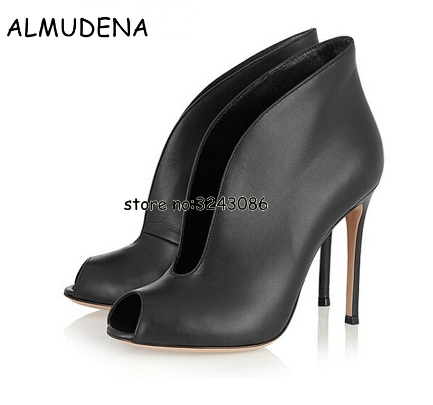 Newest Suede Velvet Leather Women Peep Toe Ankle Booties Deep V Front Ladies High Heels Slip On Fashion Dress Shoes Women Pumps