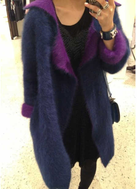 Новинка; Бесплатная доставка; Новинка; вязаный настоящий норковый свитер; Двухслойный кашемировый бархатный плащ; зимняя длинная норка; кашемировая куртка; TP191