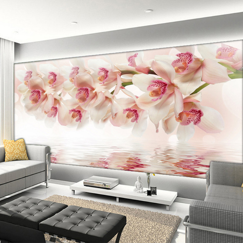 Custom Mural Wallpaper 3D Beautiful Orchid Flowers Fresco Modern Simple Living Room TV Sofa Backdrop Wall Painting Papel Murals
