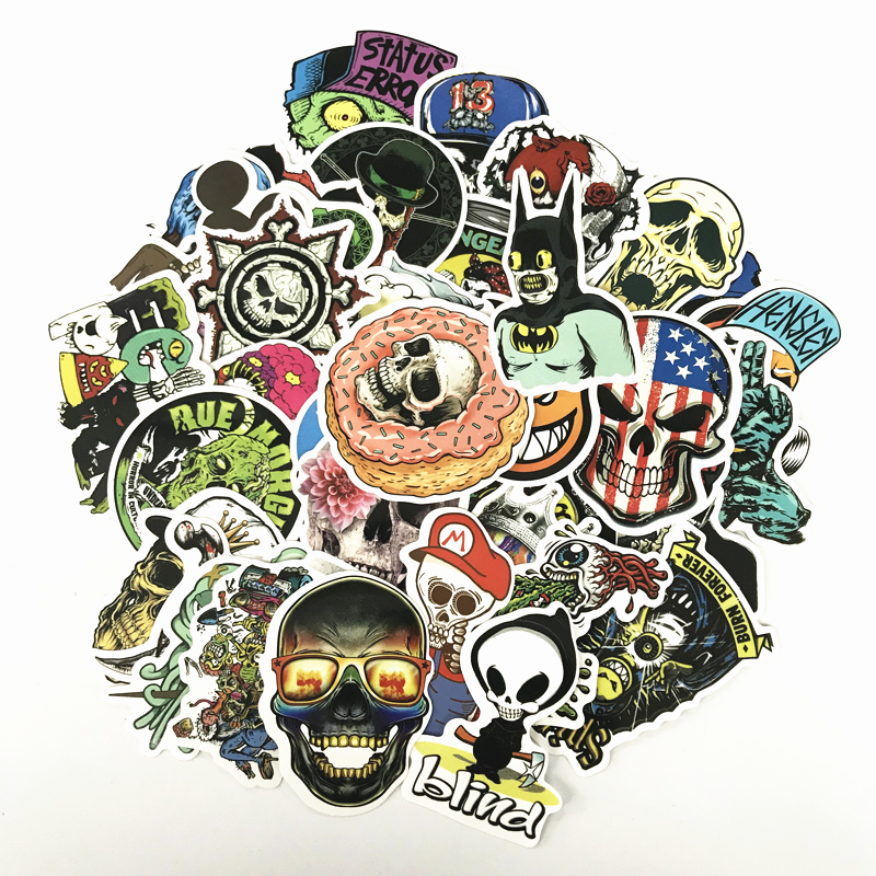 TD ZW 2018 50Pcs/lot Skull Horror Stickers Decal For Snowboard Luggage Car Fridge Car- Styling Laptop Stickers