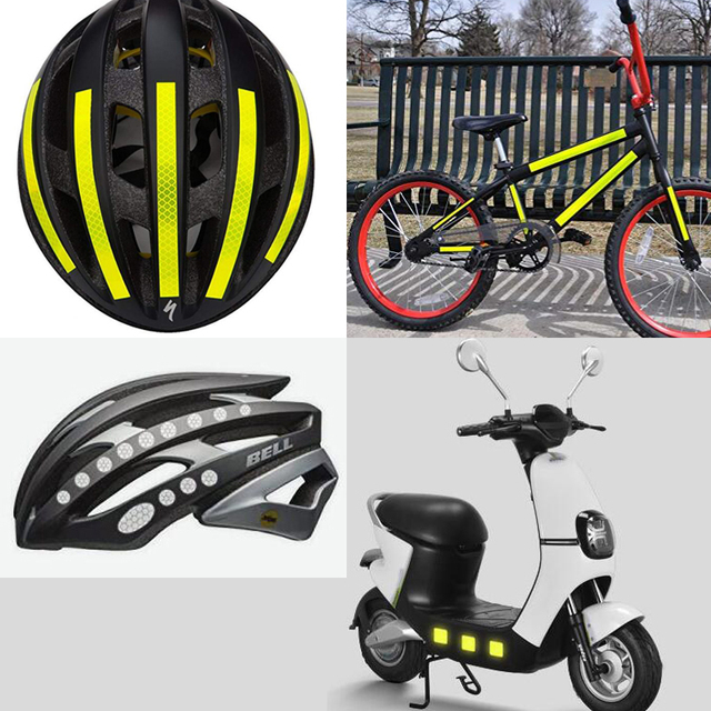 Reflective Bicycle Stickers Adhesive Tape For Bike Safety White Red Yellow Blue Bike Stickers Bicycle Accessories 4