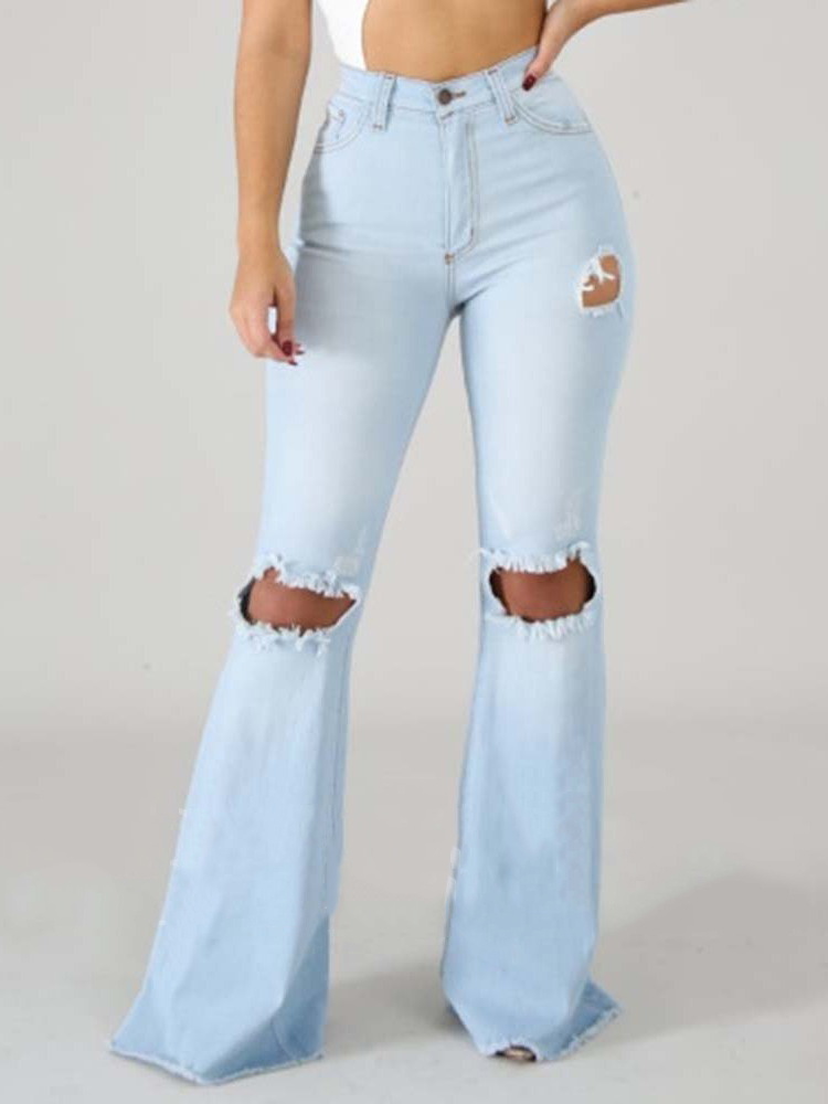 Ripped High Waist Women Jeans Summer 2019 Fashion Knee Ripped Flare Pants Solid Color Skinny Jeans Woman Combinaison Pantalon