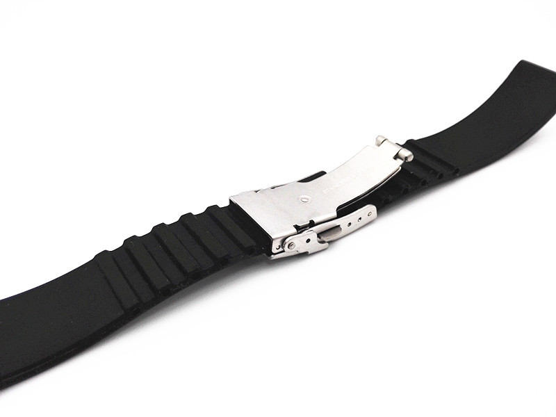 Image 3 - Wholesale 10PCS/lot 18MM 20MM 22MM 24MM rubber bands watch strap black color Watch band women and men watch strap  WBR003-in Watchbands from Watches