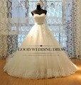 Vestido de noiva Princess Tube Top Beading Bride Wedding Dress 2015 Plus Size Wedding Gown Custom-made TW5