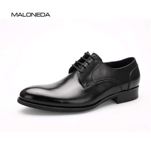 3cad60eb MALONEDA nueva marca de moda hecho a mano vestido Formal de cuero genuino  de los hombres zapatos para fiesta de boda calzado