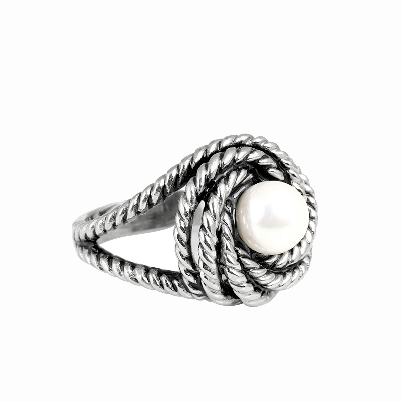 New Design Equisite Vintage Antique Silver Imitation Pearl Rings for Women Fashion Stainless Steel Cocktail Flower Ring IDY013