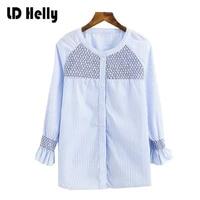 Women Geometric Embroidered Honeycomb Pattern White Blue Strip Work Blouse Tops Shirt New Autumn Petal Sleeve