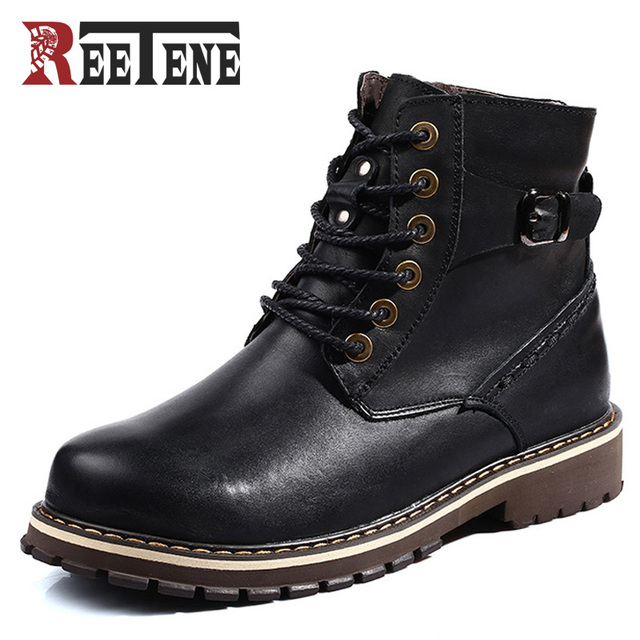 REETENE BrandSize 38-48 Men's Winter Martin Boots Plus Fur Genuine Leather Cotton-Padded Shoes Man Cow Leather Tooling Boots