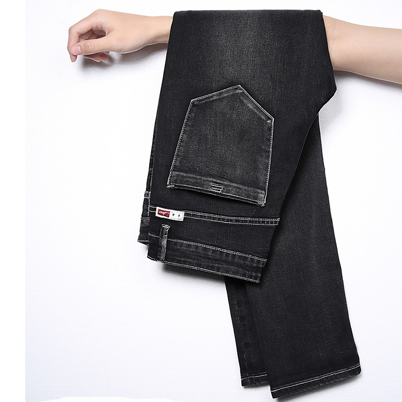 New Men Jeans Pants 2019 Black Mens Skinny Classic Jeans Slim Fit Stretchy Washed Scratched Casual Denim Trousers Male