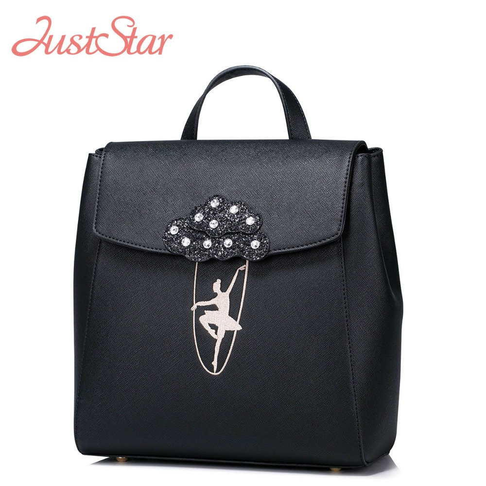 JUST STAR Women Leather Backpack Ladies PU Leather Fashion Daily Travel Double Shoulder Bag Girl's Embroidery School Bags JZ4196