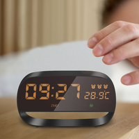 USB Charging Alarm Clock Full Touch Night Light Table Clock With Big Number Display 3 Alarm