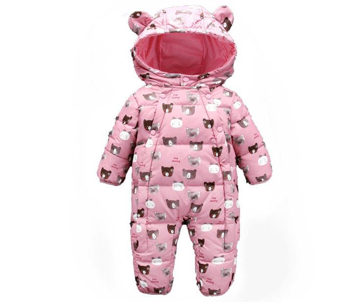 2018 милые зимние детские комбинезоны Куртки для Одежда для девочек Медведь один шт jumsuits белый зимние пуховики для Одежда для маленького маль...