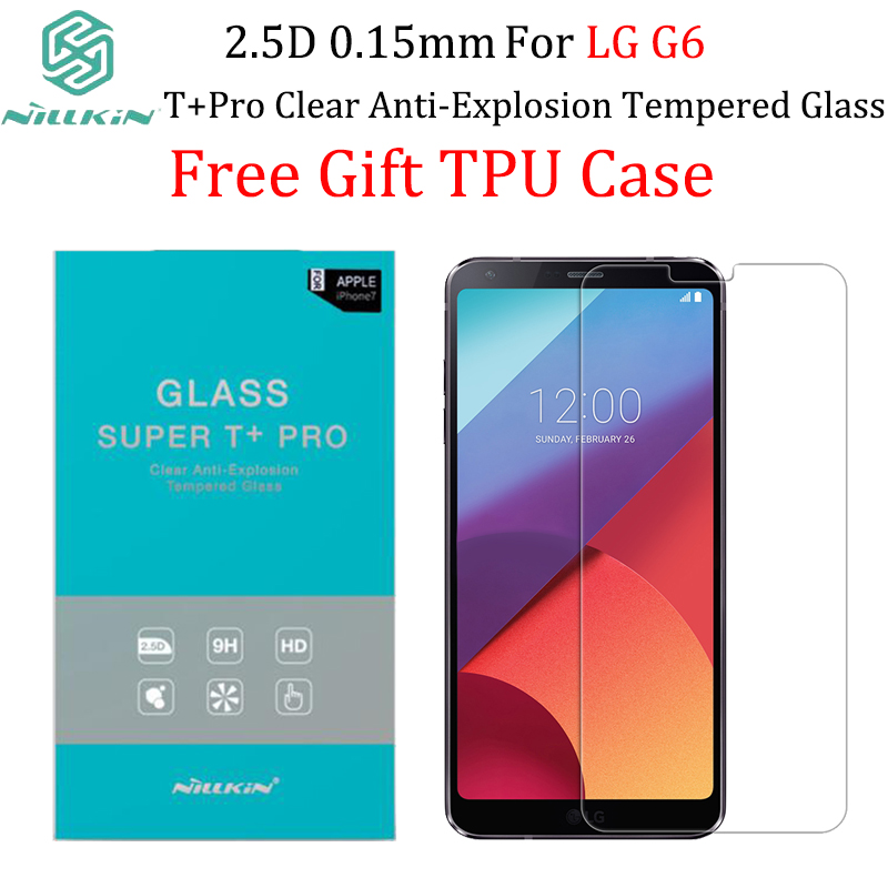 imágenes para Para lg g6 nillkin protector de pantalla 0.15mm 2.5d t + pro claro regalo de anti-explosión de cristal templado para lg g6 caso de tpu