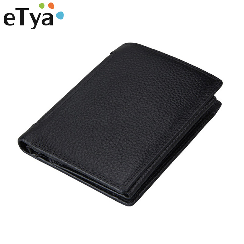 eTya Men's Wallet Genuine Leather Short Man Folding Cowhide Wallet Male Multifunctional Credit Id Card Coin Purse Money Bag etya bank credit card holder card cover
