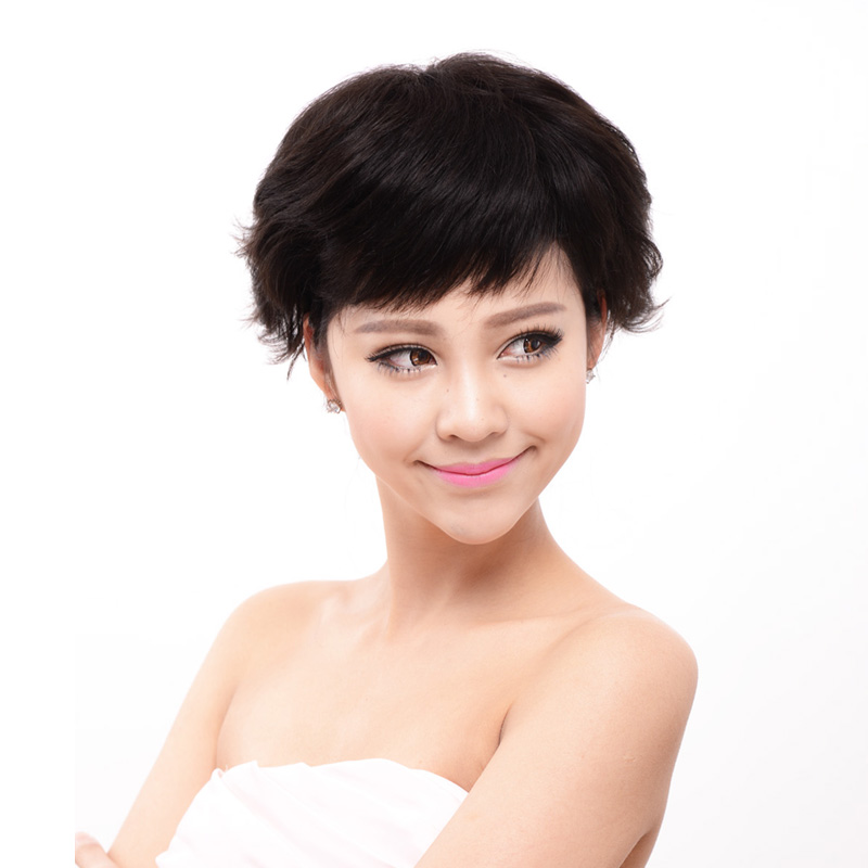 Fashion wig female short hair curly hair wig women's real hair wig wigs z176
