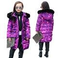 Chaquetas de invierno Para Las Adolescentes Gruesa Caliente Cabritos de la Capa de Camuflaje Púrpura Parkas Niños Chicas Trench Abrigos Con Cuello de Piel Sintética