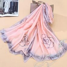 Satin simulation silk camellia scarf shawl versatile autumn winter women scarfs for ladies
