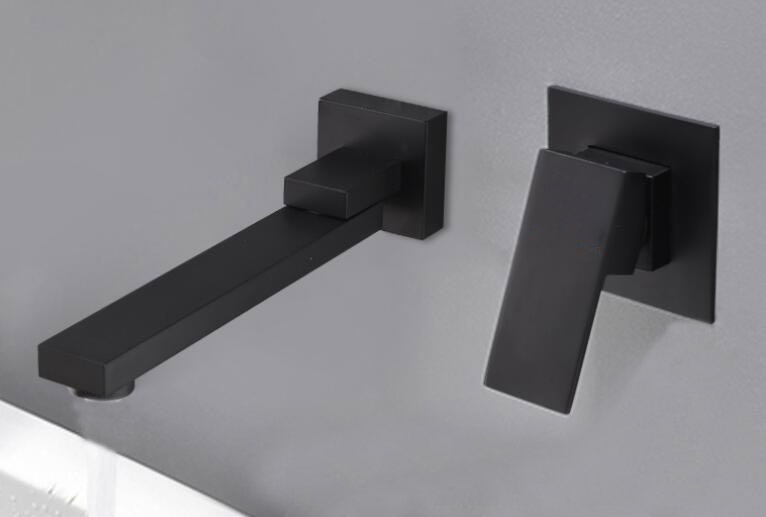 Concealed Installation black color Basin Faucet Hot and Cold Water Wall Mounted Basin Faucet BF999A