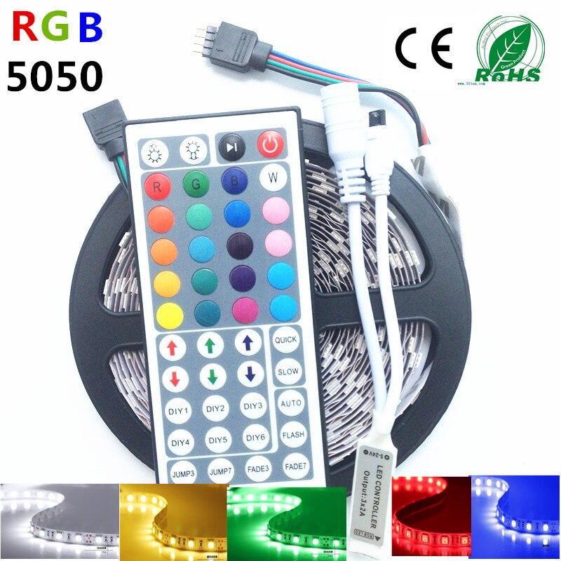 5M 10M IP65 waterproof rgb led strip light 5050 smd flexible led strip dc12V 150led 5M