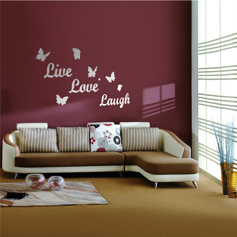 Diy Mirror Butterfly Live Love Laugh Wall Sticker Home Decor Art Decal Acrylic Lowest Price From Reliable Sticker Audi Suppliers On Cmyii Watch Repair Store