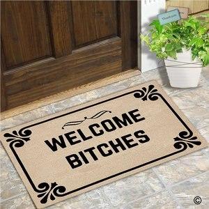 Image 2 - Paillasson dentrée bienvenue chiennes intérieur extérieur tapis de porte antidérapant paillasson 23.6 par 15.7 pouce lavable en Machine Non tissé