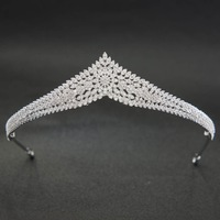 Classic CZ Cubic Zirconia Wedding Bridal Silver Tiara Diadem Crown Women Girl Prom Party Hair Jewelry Accessories CH10213