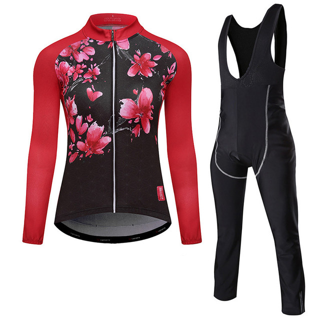 78711715b Anti-UV Autumn Cycling Clothing With Bib Cycling MTB Bicycle Clothes Long  Sleeve Women Cycling Bike Jersey Set Red
