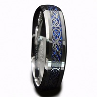 Queenwish 6mm White Tungsten Ring Silver Celtic Dragon With Blue Background Men Wedding Ring Size