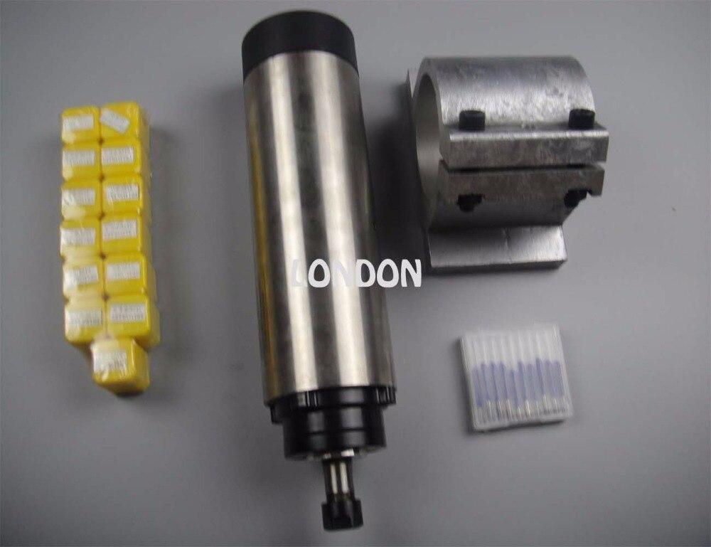 CNC spindlikomplekt ER11 läbimõõt 65mm 220V 0,8KW õhkjahutus spindli mootor 4 laager + spindli tugi + 13 tükki ER11 kogud