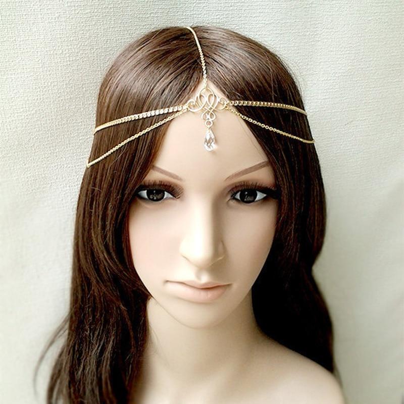 New Wedding Hair Accessories Simple Tassel Pearl Water Drop Gold Bijoux Bridal Headband Crystal Head Chain For Women