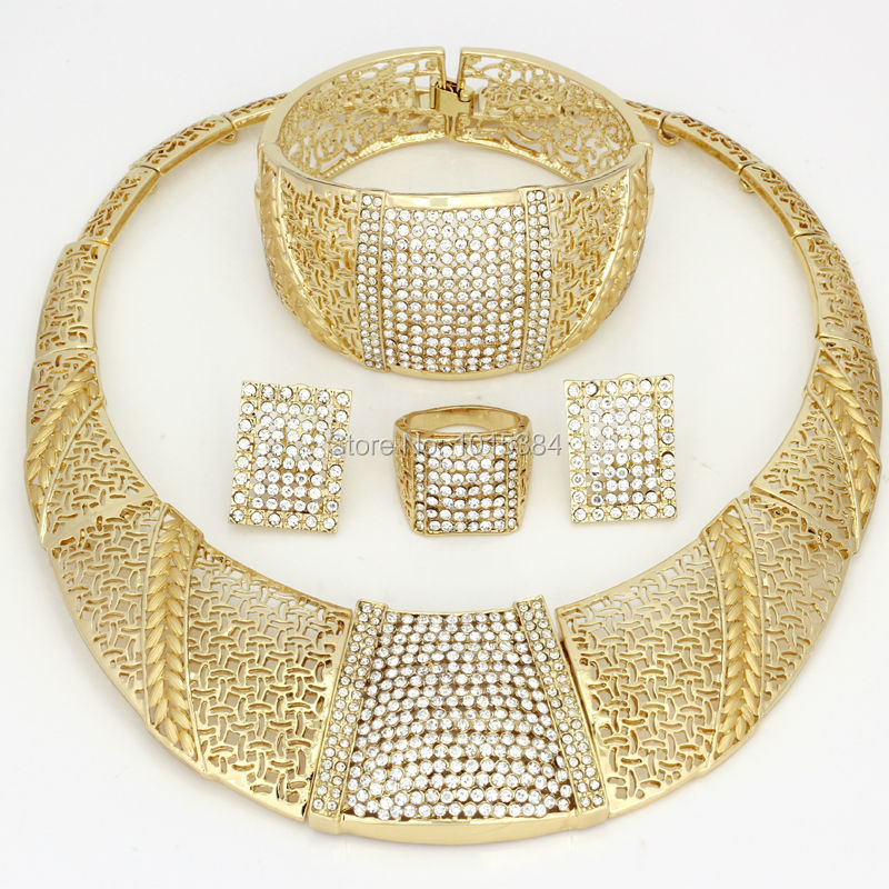 sale CZ 2017 Bling Bling Gold Fashion Jewelry Sets Chunky Necklace
