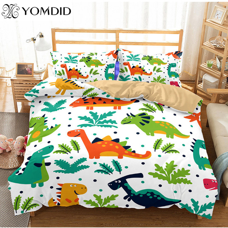 2Pcs/3pcs Printed Bedding Sets Children Room Cartoon Animal Duvet Cover With Pillowcases Queen/King Bedroom Duvet Cover Sets