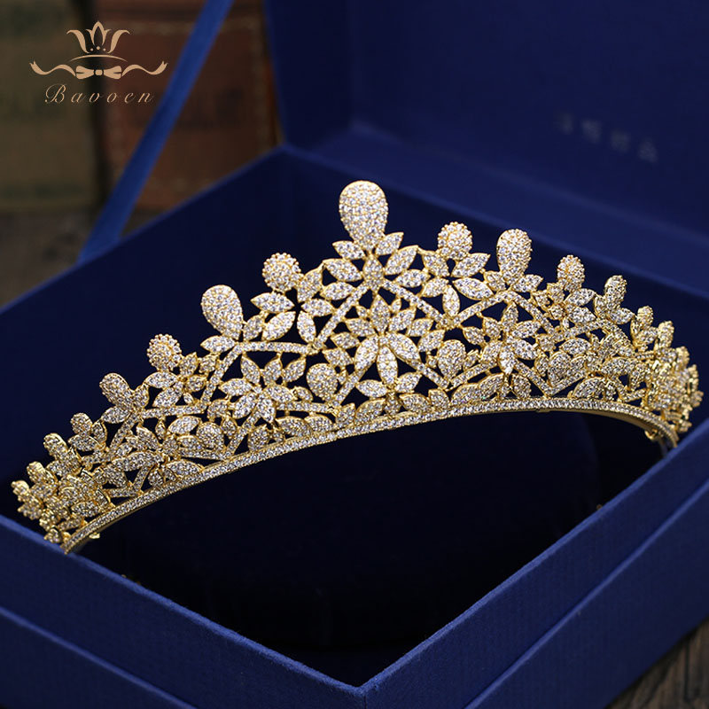 Top Quality Sparkling Zircon Oversize Royal Queen Hairbands Gold Tiaras Crowns Crystal Wedding Hair Accessories Gift For Brides