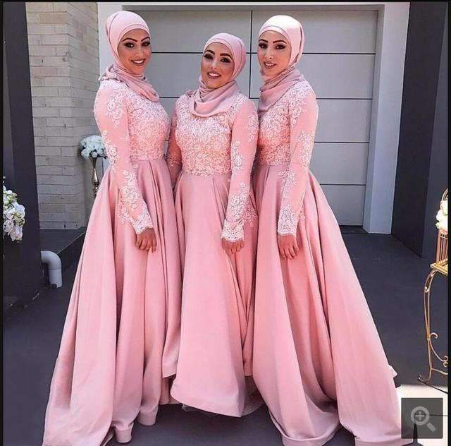 f67c948acb0 Robe De Soiree muslim pink lace long sleeve bridesmaid dress appliques high  neck modest Arabic bridesmaid gowns hot sale