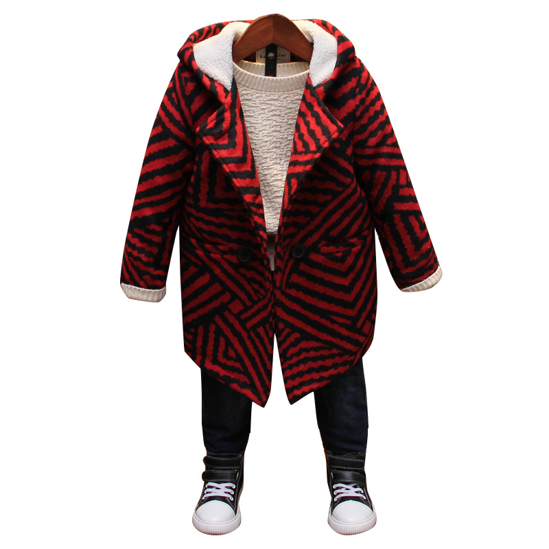 Boys wool coat children's fashion Korean version of the wild woolen coat children's clothing winter new boy's woolen coat one button design longline woolen coat page 2