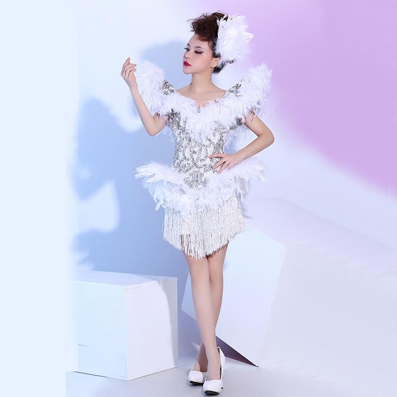 Strass Équipe De Porter Discothèque Les White Chanteuse Épaules Plumes Lumineux Bar Dsdj Gland Costume Danse Grandes Haussa Stage Blanc Robe qUZw06A