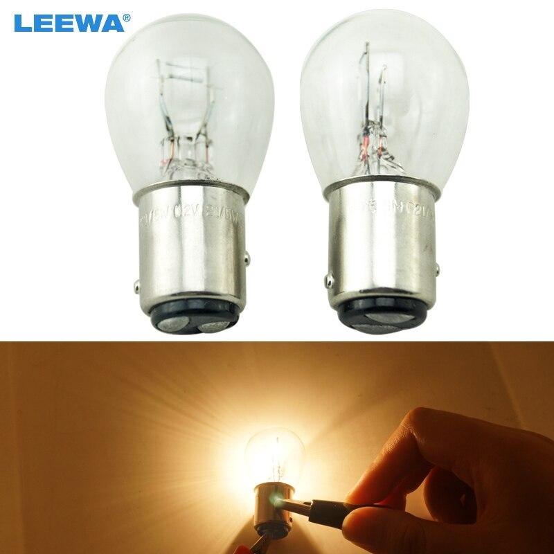 LEEWA 10шт 1157 BAY15D P21/5 Вт s25 12V автомобиль прозрачное стекло лампы тормоза хвост лампы автомобиля Индикатор галогенные лампы #CA2721