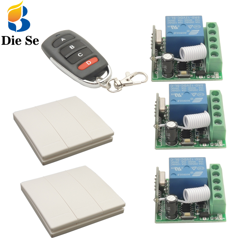 86 Wall Panel Switch 433 MHz Universal Remote Control DC12V 1CH rf Relay Receiver 3 button For Bedroom Ceiling Light Lamp Bulb
