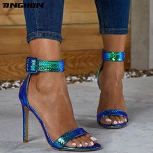 TINGHON Summer Silver Blue Serpentine Peep Toe High Heel Women Sandals Sexy Buckle Strap Ankle-wrap Ladies Club Shoes