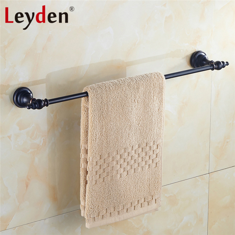 Leyden Oil Rubbed Bronze Solid Brass Towel Bar ORB Classical Single Towel Rack Wall Mounted Towel Bar Holders Bathroom Hardware oil rubbed bronze wall mount towel rack holder round towel bar hanger solid brass