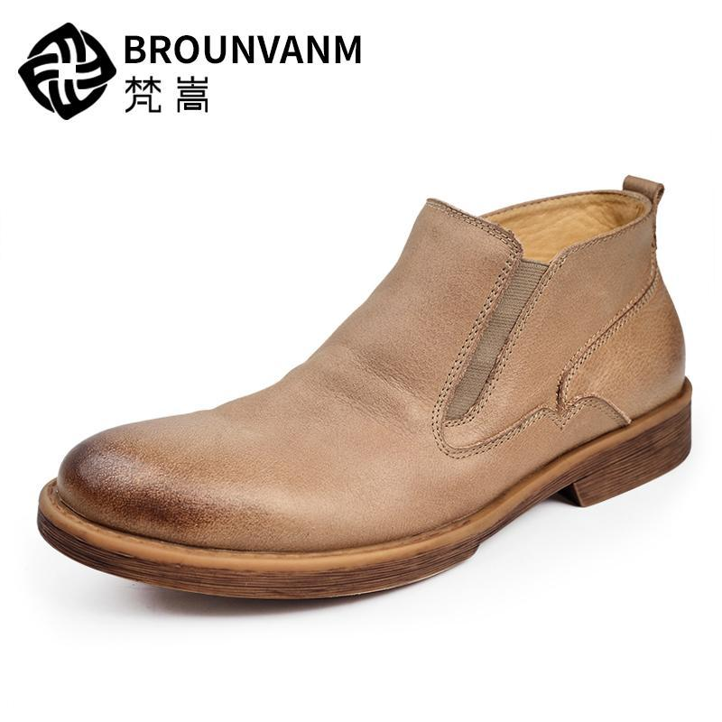 Retro Mens Chelsea Boots Full Grain Leather Round Toe Pull On Martin Boots Man Casual Winter Shoes Desert Boots farvarwo formal retro buckle chelsea boots mens genuine leather flat round toe ankle slip on boot black kanye west winter shoes
