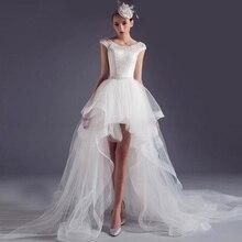 2016 High Low Wedding Dresses Scoop Short Lace vestido noiva Detachable Train Backless Beaded robe de mariage