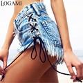 LOGAMI Denim Shorts Women High Waist Sexy Shorts Summer Micro Mini Jean New Arrival Short Mujer 2017