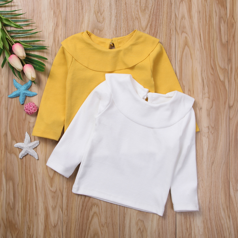 Ruffles Solid Color Girls T shirt Tops Clothes Newborn Infant Baby Girls Kids Long Sleeve Summer Autumn Tee shirt Tops Clothing newborn infant baby girls autumn clothes set cartoon print cotton long sleeve t shirt tops pants 2pcs outfit clothing sets page 9