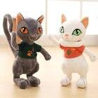 Swag Japanese Samurai Black Cat Plush Toy Tail move Cat Stuffed Animals Simulation cat With T-Shirt Birthday Present for Child