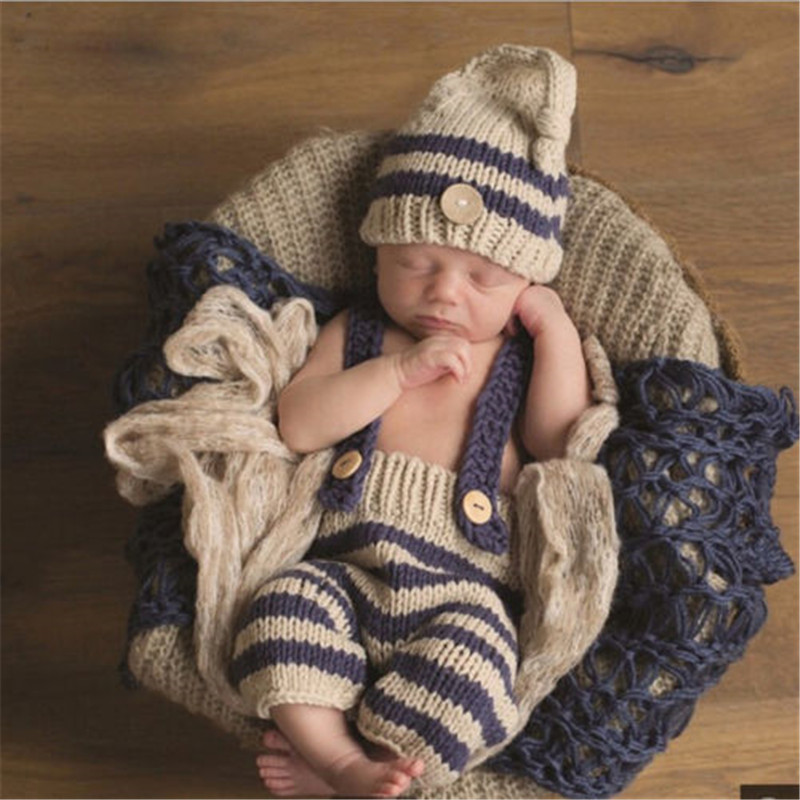 Lovely Baby Photo Props Newborn Baby Girls Boys Photo Photography Prop Crochet Knit Costume Pants With Hat Crochet Knit Costume cool newborn baby girls boys crochet knit costume photo photography prop outfits cute baby clothes sets
