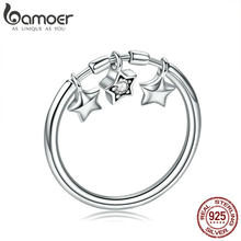 BAMOER 100% 925 Sterling Silver Fashion Sparkling Dangle Star Finger Rings for Women Wedding Engagement Ring Jewelry SCR406(China)
