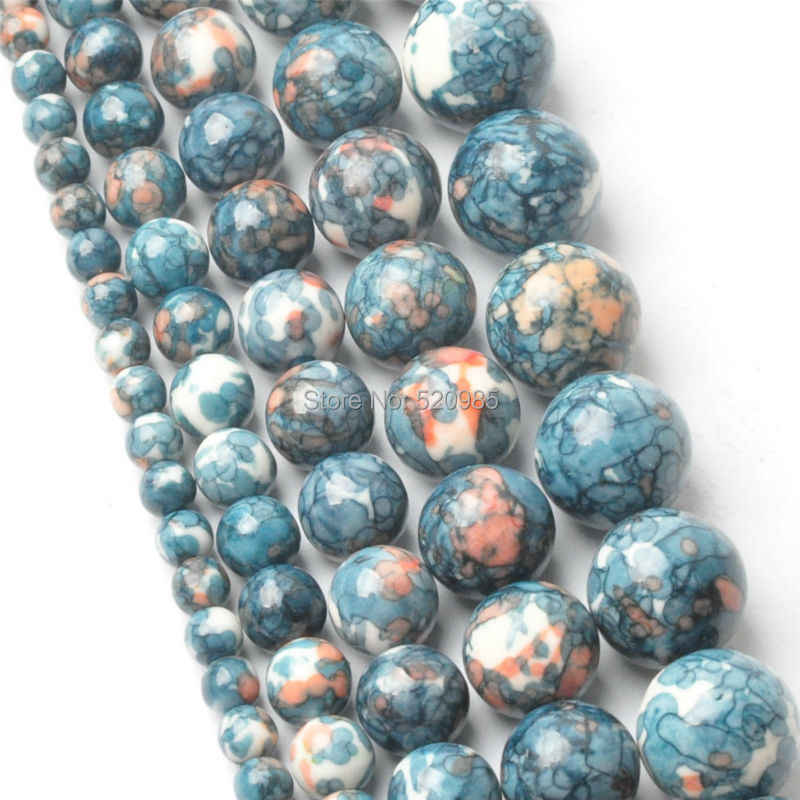 Free Shipping Natural Dark Blue Dots Rainbow Stones Round Spacer Loose Beads For Necklace Bracelet Charms Jewelry RBSB02