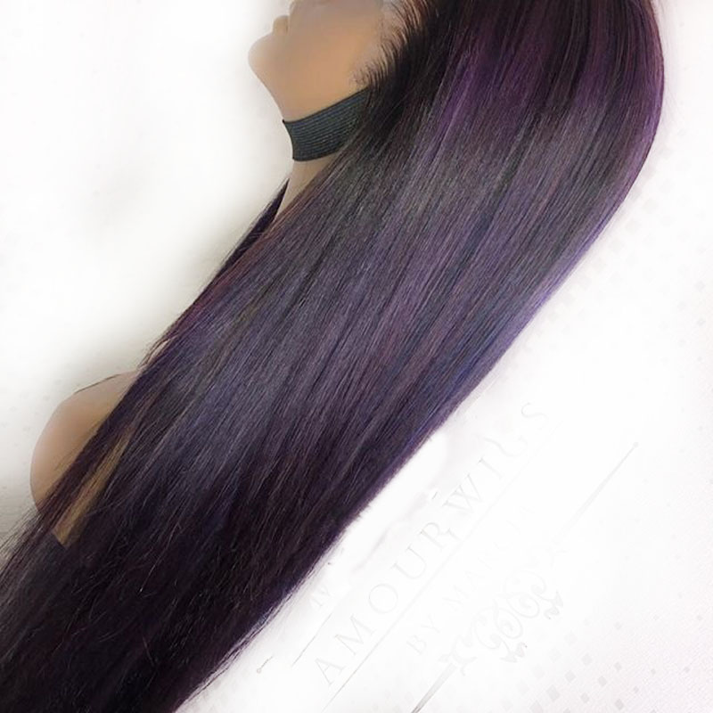 SimBeauty 1B Purple Ombre Human Hair Wig 360 Lace Frontal Wigs Long Straight Peruvian Remy 360 Lace Wigs Preplucked Hairline Wig