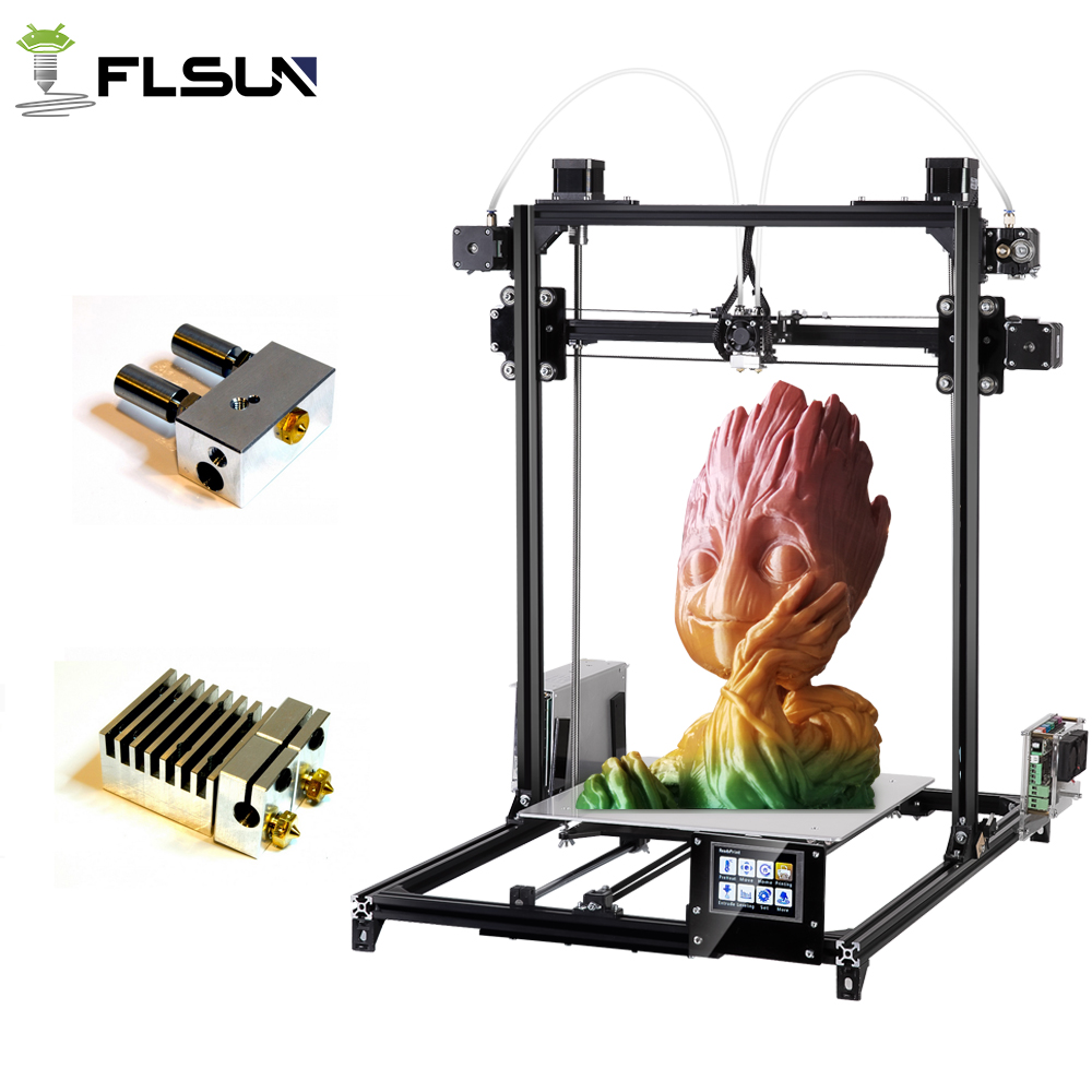 Flsun 3D Printer Kit Double Extruder Touch Screen Large Printing Area 300*300*420mm Auto Leveling 3D Printer One Roll Filament